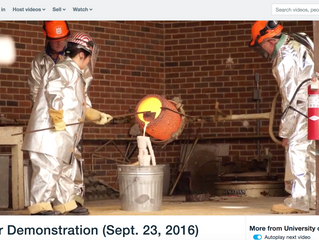 Bronze casting at UofR (swimming in my space suit.)