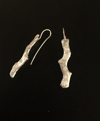 Silver Cast Seaweed Earrings