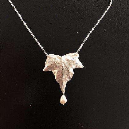 Silver Ivy Leaf and Pearl Necklace