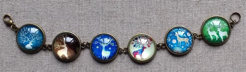 glass cabochon reindeer bracelet