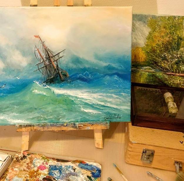 "Copy of Aivazovsky's ""Ship in storm"""