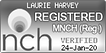 NCH logo. Laurie Harvey women's cognitive hypnotherapist.