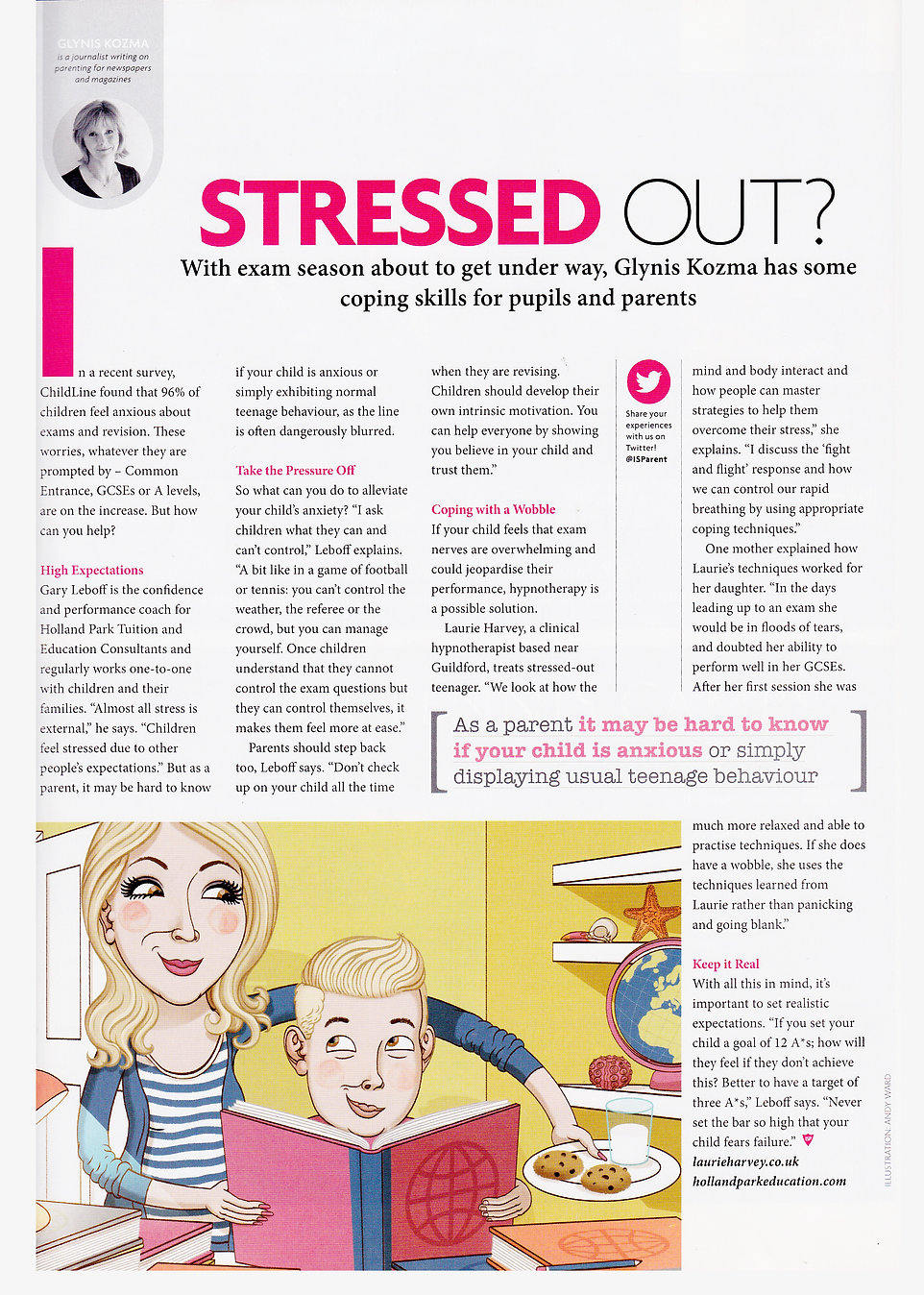 Parent magazine featuring cognitive hypnotherapist Laurie Harvey. Helping people to cope with the stress and anxiety of how to pass exams.