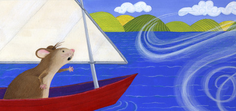 Children's book spread, mouse sailing