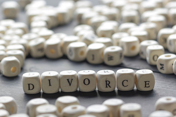 Word - Divorce made up of wooden letters
