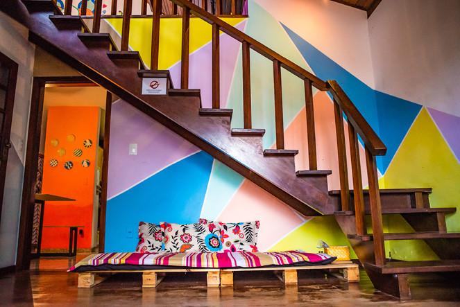 Sala de Convivência em Hostel