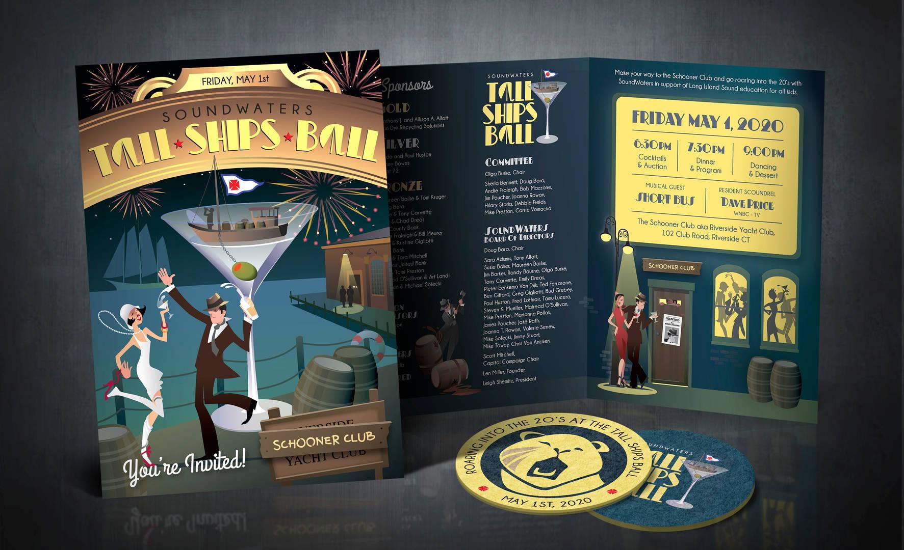 Tall Ship's Ball - Invitation and coasters