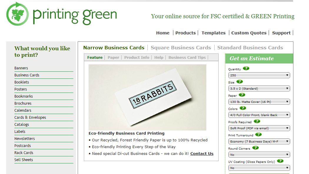 PrintingGreen Product Page