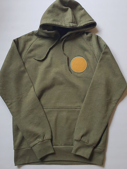 Kaki-Heather Pullover Hoodie with leather chest patch