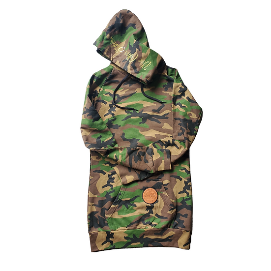 Long Camo Hoodie with leather patch