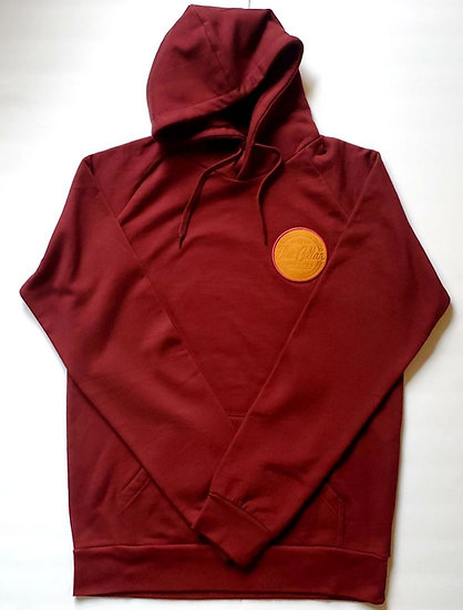 Burgundy Pullover Hoodie with leather chest patch