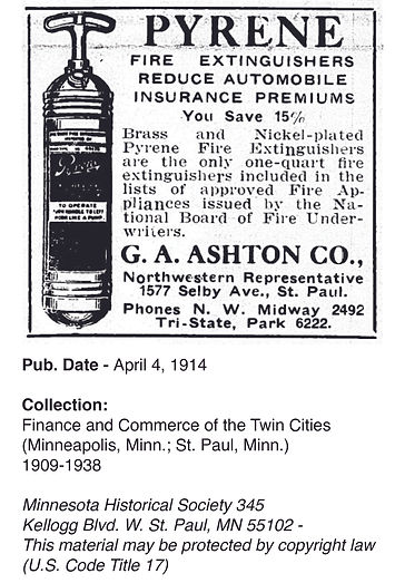 1914 Advertisement for pyrene extinguishers. Collection: Finance and Commerce of the Twin Cities. Published April 4 1914
