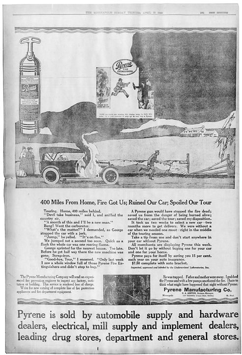 1916 advertisement for pyrene extinguishers. Published on April 23rd 1916 in the Minneapolis Tribune