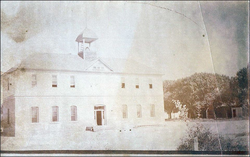 This school was once located where the present day Village offices reside.  This image is facing Northwest so the trees would be located on Encino Street.
