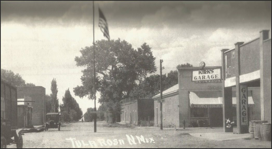 Downtown Tularosa in 1918 looking north up 4th Street (now US highway 70).. The cross street from left to right is Granado The El Fuerte (The Fort) structure is visible 1/2 a block ahead. 4th Street was widened in the 1940's and portions of the El Fuerte structure were torn down  In 1918, Tularosa was 55 years old and New Mexico state was 6 years old. There were 48 stars on the US flag. Woodrow Wilson was our 28th US President. Mississippi becomes the 1st state to ratify the 18th amendment (prohibition of alcohol) of the US Constitution, Tarzan of the Apes film premieres at the Broadway Theater, Britain grants women (30 and over) the right to vote, the 1st weekly edition of Stars & Stripes newspaper is published, the 1st cases of Spanish Flu were confirmed in Kansas. In March, US Congress established time zones and approved daylight savings time. The US Postal Service established the first regular US Airmail. A total solar eclipse crossed the US from Washington to Florida on June 18th, 1918. The Boston Red Sox won the World Series, which was their last until 2004. The 1st flight to the Hawaiian Islands is completed, The Republic of Poland is proclaimed November 6th, World War 1 ends on November 11th resulting in the sad loss of 116,516 service members.