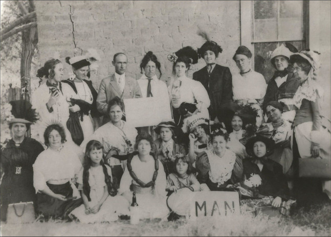 """Tularosa's Old Union Church A photograph of the cast in the 1913 play """"Man""""."""