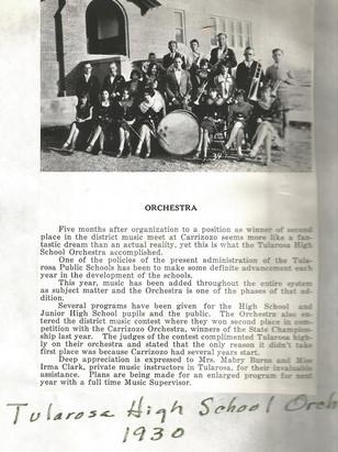 1930 Tularosa High School Orchestra