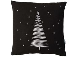 Tannenbaum Schneeflocken, Leinen schwarz