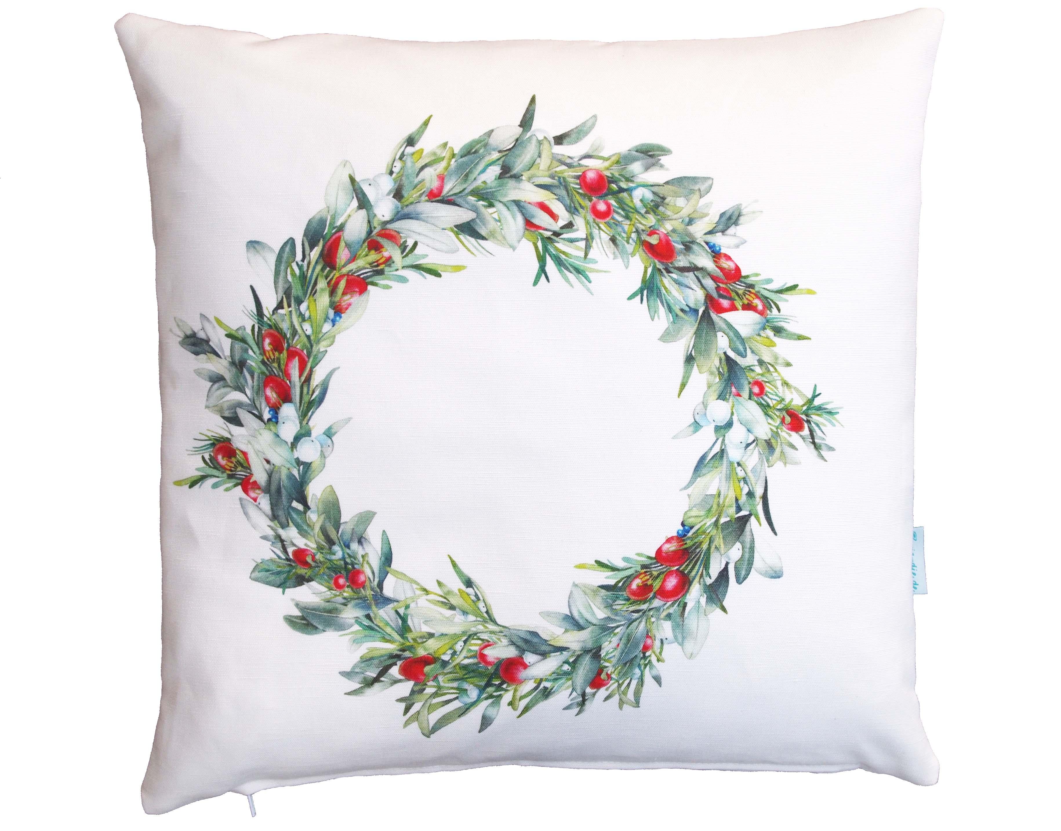 Weihnachtskissen Kranz Aqurell