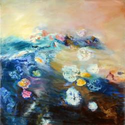 Irma Hameri, Catalan Opera by the Sea, 2016,100x100cm, oil on linen