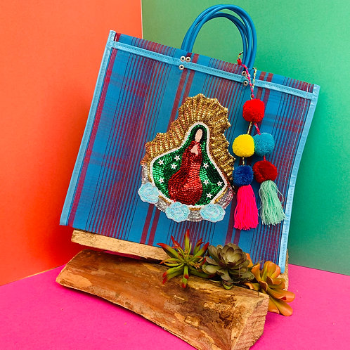 Guadalupe Tote - Blue & Red