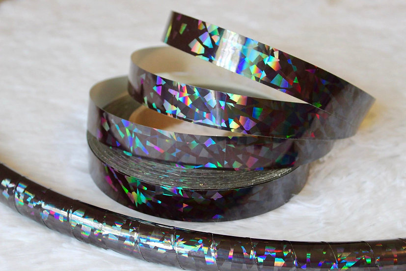 Black Crystal Confetti Holographic Taped Polypro or HDPE Hoop