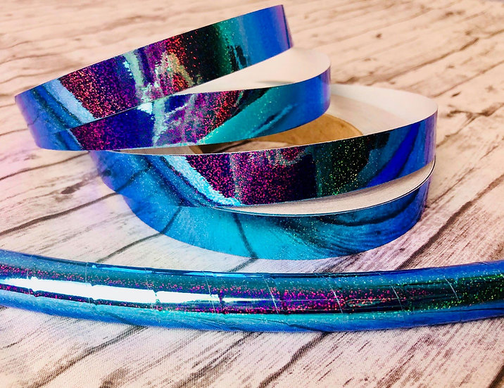 Aqueous Color Shifting Holographic Glitter Taped Hoop