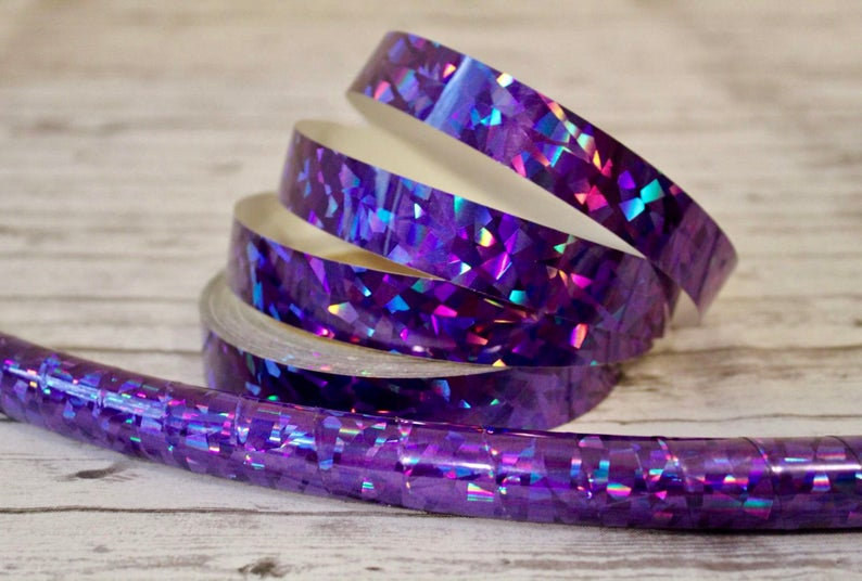 Purple Crystal Confetti Holographic Taped Polypro or HDPE Hoop