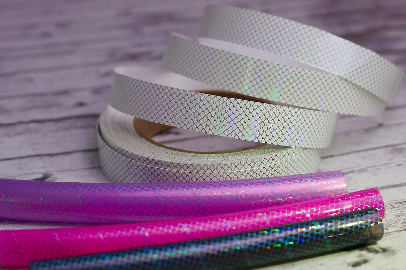 Add-On Clear Holographic Mermaid Scale Tape To Any Hoop