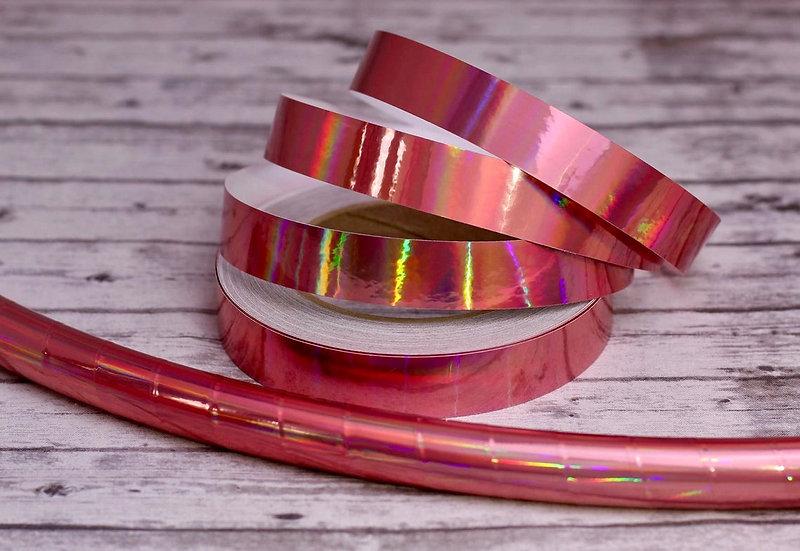 Rose Gold Laser Beam Holographic Pink Taped Hoop