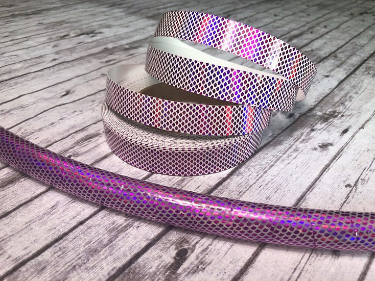 Holographic Pink Filled Transparent Mermaid Scales Taped Polypro or HDPE Hoop