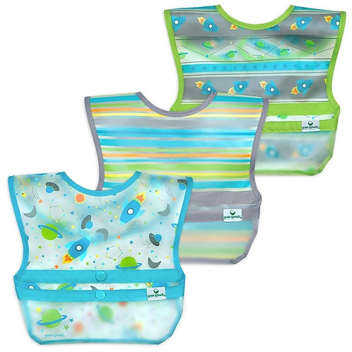 Green Sprouts Snap & Go Wipe-Off Bibs (3 Pack) Aqua Space