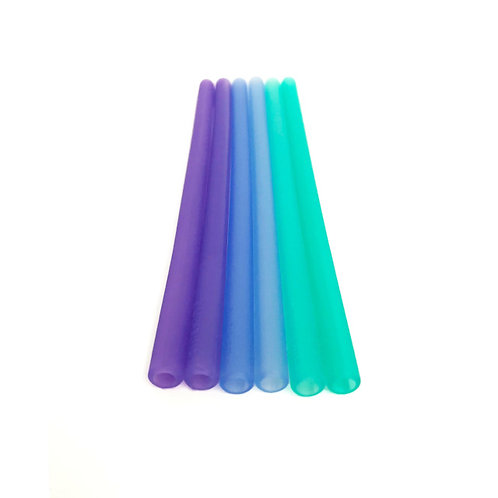 GoSili Reusable Silicone Straws Ombre Set (Violet/Cobalt/Sea)