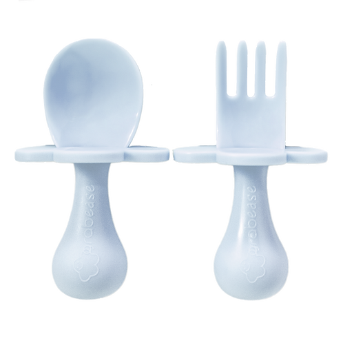 Grabease Self Feeding Spoon and Fork Set - Ice Blue