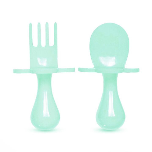 Grabease Self Feeding Spoon and Fork Set - Mint