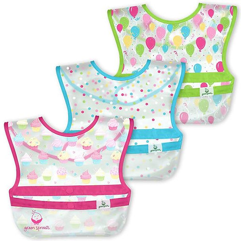 Green Sprouts Snap & Go Wipe-Off Bibs (3 Pack) Pink Cupcakes
