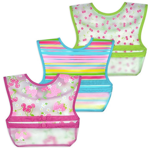 Green Sprouts Snap & Go Wipe-Off Bibs (3 Pack) Pink Berries