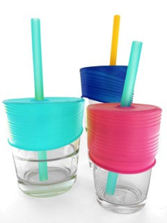 GoSili Silikids Siliskin Universal Straw Tops 3 Pack (Berry / Cobalt / Sea)