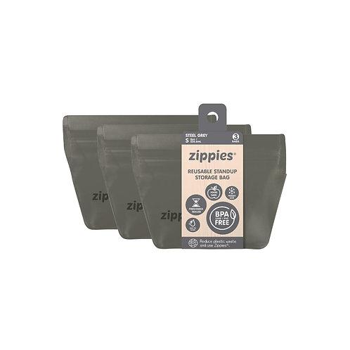 Zippies Steel Grey Reusable Standup Bags