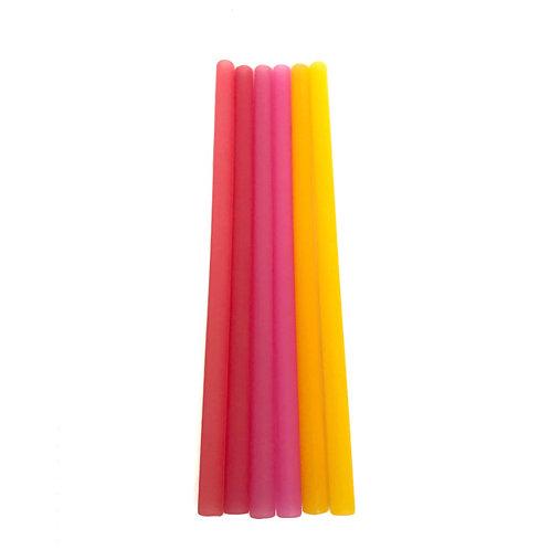 GoSili Reusable Silicone Straws Ombre Set (Spice/Berry/Orange)