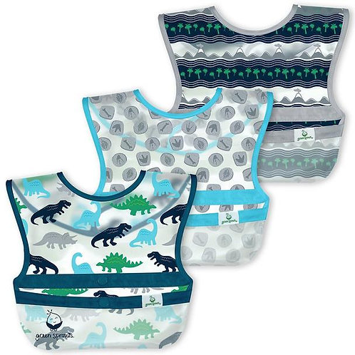 Green Sprouts Snap & Go Wipe-Off Bibs (3 Pack) Blue Dinosaurs