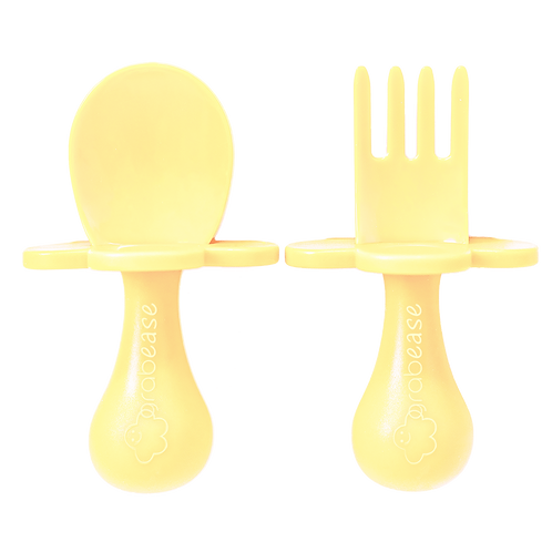 Grabease Self Feeding Spoon and Fork Set - Pastel Yellow