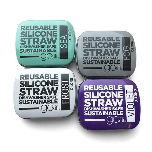 GoSili Reusable X-Long Silicone Straw with Travel Tin Case