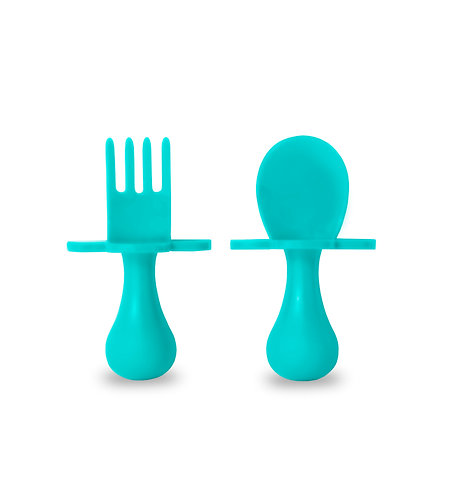 Grabease Self Feeding Spoon and Fork Set - Teal