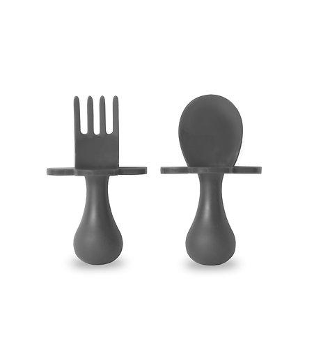 Grabease Self Feeding Spoon and Fork Set - Gray
