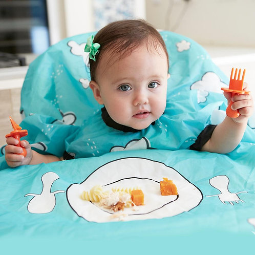 Grabease Bundle: Self Feeding Spoon and Fork Set with Allover Bib