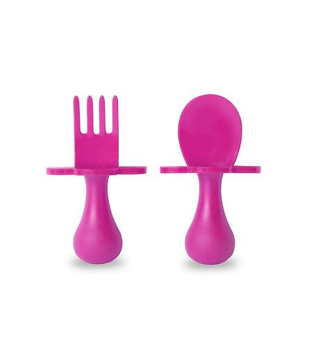 Grabease Self Feeding Spoon and Fork Set - Dark Pink
