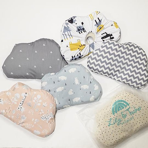 Lily and Tucker Studios Memory Foam Baby Pillow with washable cotton cover set