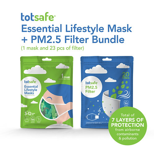 Totsafe Essential Lifestyle Mask and PM2.5 Filter in packs of 20s Bundle