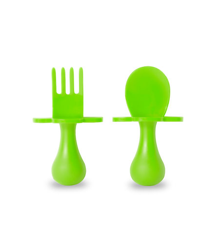 Grabease Self Feeding Spoon and Fork Set - Lime Green